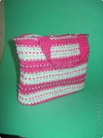"""Вот такая связалась сумочка для двух-годовалой дочки. """"Зефирно-гламурная"""" фото 1"""