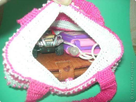 """Вот такая связалась сумочка для двух-годовалой дочки. """"Зефирно-гламурная"""" фото 5"""