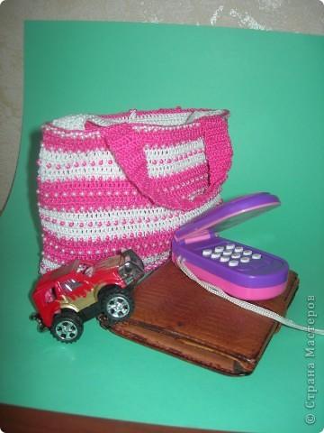 """Вот такая связалась сумочка для двух-годовалой дочки. """"Зефирно-гламурная"""" фото 6"""