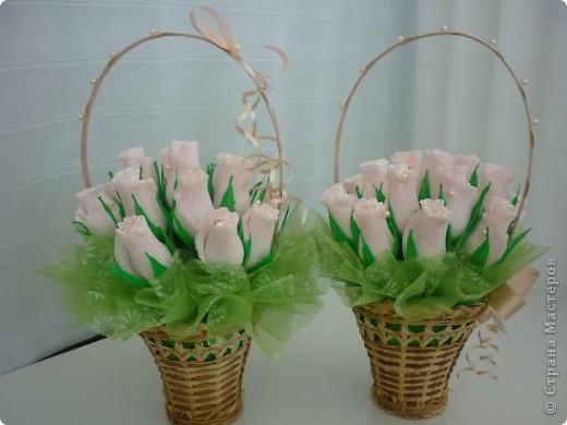 Ддве маленькие корзинки с бутонами роз. фото 1