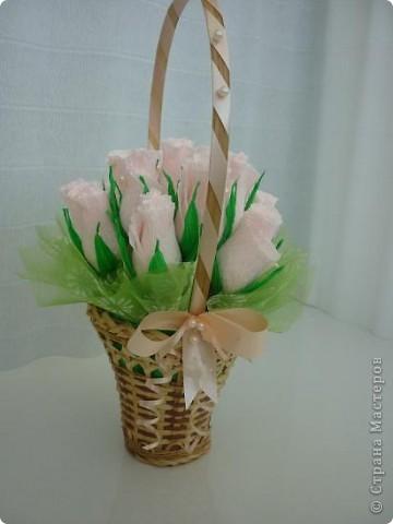 Ддве маленькие корзинки с бутонами роз. фото 2