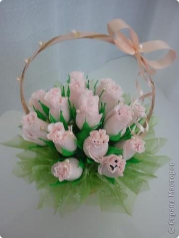 Ддве маленькие корзинки с бутонами роз. фото 5