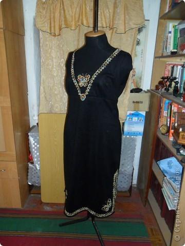 Сарафан из  тонкого сукна  отделанный  тесьмой в стиле фриволите со вставленным бисером и декоративным стеклом.(общий  вид) фото 1
