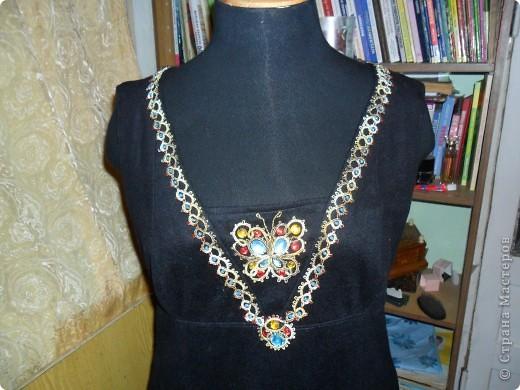 Сарафан из  тонкого сукна  отделанный  тесьмой в стиле фриволите со вставленным бисером и декоративным стеклом.(общий  вид) фото 2