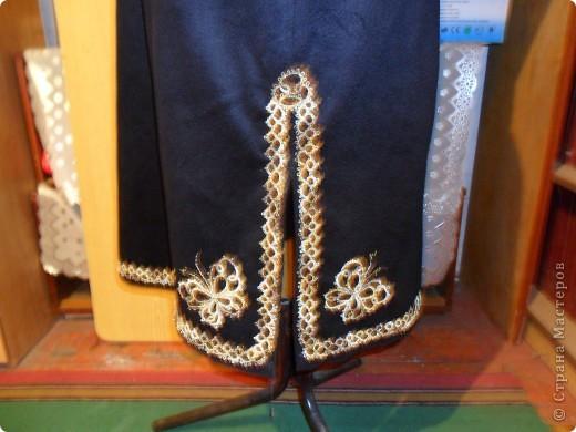 Сарафан из  тонкого сукна  отделанный  тесьмой в стиле фриволите со вставленным бисером и декоративным стеклом.(общий  вид) фото 3