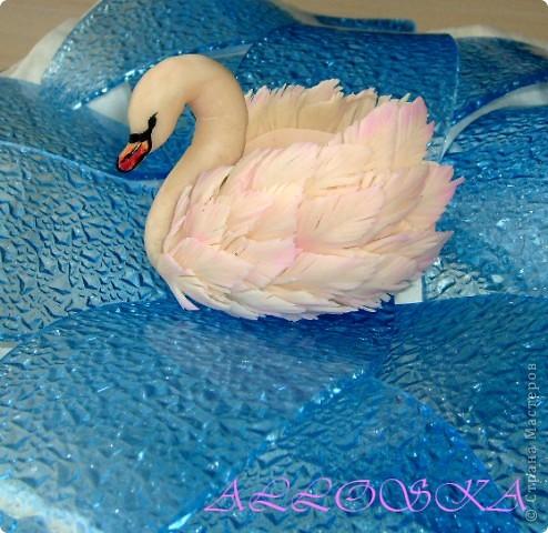 Училась делать лебедя из ХФ, цвет хф неудачный, оттенила его слегка пастелью.  Теперь он фантазийный лебедь! фото 1