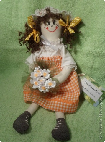 Девчушка-веселушка с Ромашками.Куколка в стиле примитив. фото 1