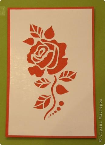 Увидела открытку у Мама_Ирина http://stranamasterov.ru/node/47795 и захотелось самой попробовать вырезать такую розочку. фото 1