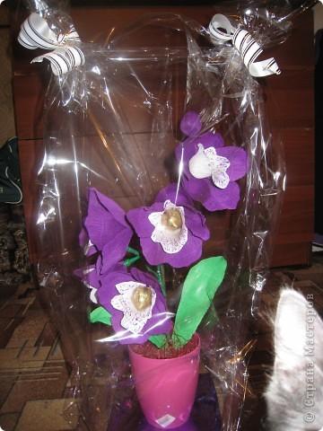 Захотелось сделать орхидею с конфетками,вот что получилось,может не очень удачно для первого раза!Выставляю на ваш суд! фото 2