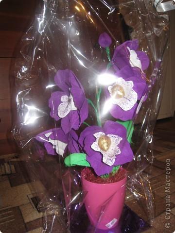 Захотелось сделать орхидею с конфетками,вот что получилось,может не очень удачно для первого раза!Выставляю на ваш суд! фото 1