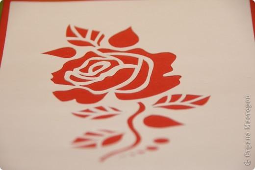 Увидела открытку у Мама_Ирина http://stranamasterov.ru/node/47795 и захотелось самой попробовать вырезать такую розочку. фото 5