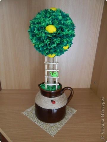 Очень хотела я попробовать технику торцевания... Вот родилось у меня такое лимонное деревце. Не скажу, что эта техника уж очень мне понравилась, но деревце по моему получилось красивым, солнечным, и очень витаминным. фото 3