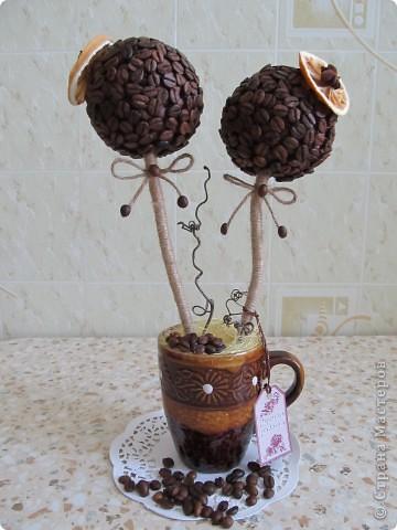 Вот решила сделать очередное кофейное дерево, которое отправится к мужу на работу. фото 1