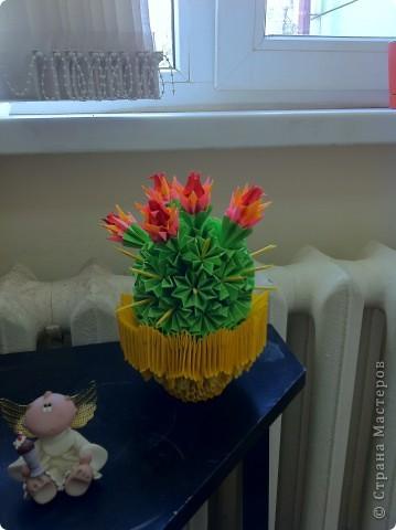 Вот такая красота получилась. Первоисточник http://stranamasterov.ru/node/86753?tid=451%2C328  Немного другой сделала горшочек, очень красивые получились цветы у кактуса. фото 3