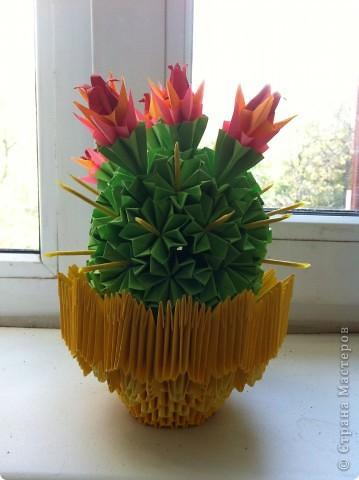 Вот такая красота получилась. Первоисточник http://stranamasterov.ru/node/86753?tid=451%2C328  Немного другой сделала горшочек, очень красивые получились цветы у кактуса. фото 1