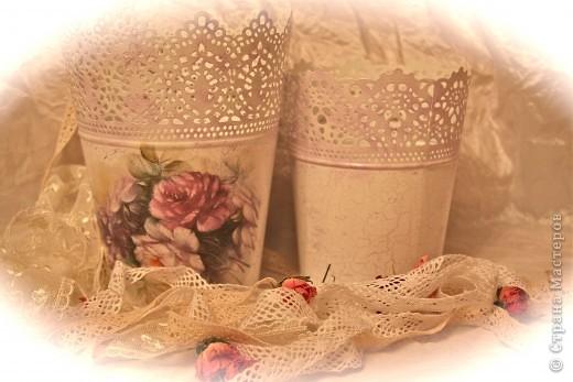 Кашпо Икея.Моя  мечта. Рисовая бумага, акриловые краски, средство для кракелюра и лак. фото 6