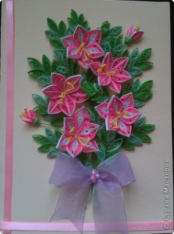 Открытка лилии, квиллинг фото 1