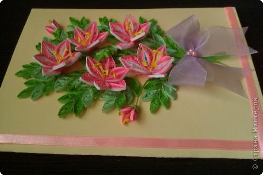 Открытка лилии, квиллинг фото 3