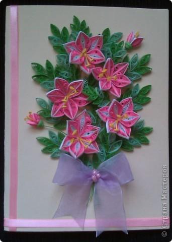 Открытка лилии, квиллинг фото 2