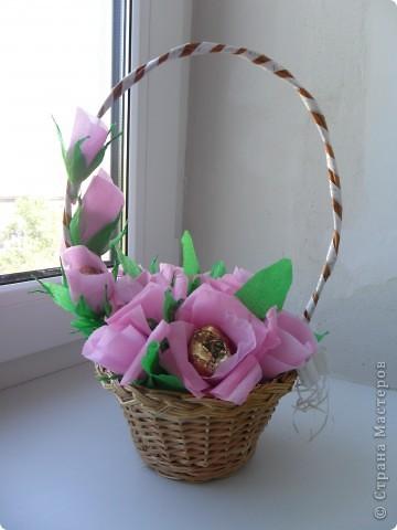 Корзинка с цветами из конфет фото 1
