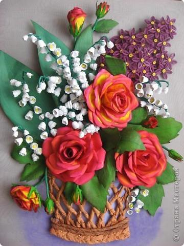 Картина с цветами из гофрированной бумаги своими