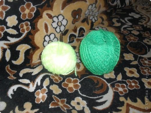 нитки синтетика лимонного и зеленого цвета фото 1