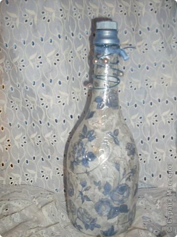 """Бутылочка """"Нежность"""" Использованы  рисовая бумага,салфетка, контур белый, только на фото его не видно ( не удачно сфотографировано,далеко) фото 6"""