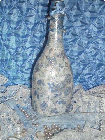 """Бутылочка """"Нежность"""" Использованы  рисовая бумага,салфетка, контур белый, только на фото его не видно ( не удачно сфотографировано,далеко) фото 7"""