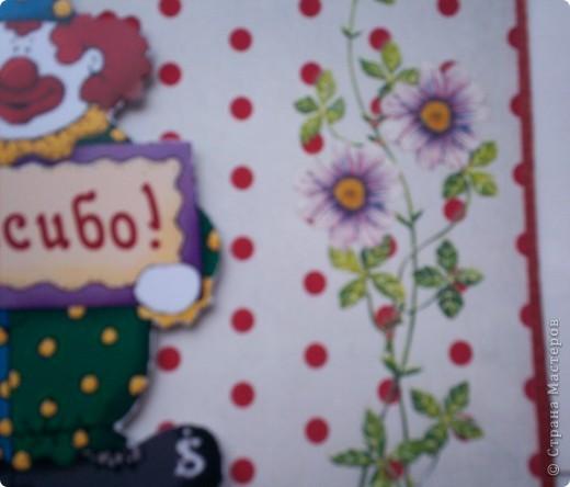 """Две новые открытки с клоунами. Решила попробовать натирки. Понравилось. Первая открытка """"Спасибо"""".  фото 4"""