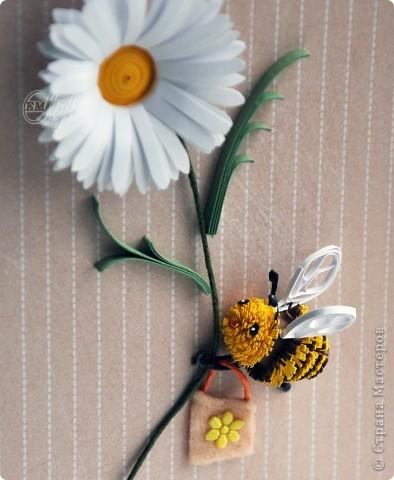 """Всем снова здравствуйте!!! Родилась у меня вот такая открыточка в подарок сестрёнке, которую мы с детства зовём """"Муха"""") Почему именно муха - уже не помню, но повод был...идею в сети нашла....и теперь открытка ждёт своего часа быть подаренной, и пчёлка вручит нашей """"мухе"""" свою ромашку))) А что у неё в сумочке - не сказала - секрет говорит...:) фото 3"""