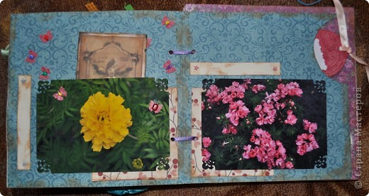 Альбом делала для мамы, она у меня знатный садовод. Участвовала с этим альбомом в конкурсе. Это моя первая проба мягкой обложки... фото 17