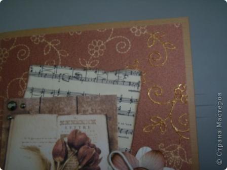 Здравствуйте, моя вторая открытка, осваиваю, так сказать, скрап. Использовала: картон, кружева, готовый цветок, вощеный шнур,  деревянная пуговица, фон и картинка - распечатки на акварельной бумаге, ноты распечатала на состаренной в кофе бумаге, края обожгла на плите (ну не было у меня тогда замечательной штемпельной подушечки), надпись взята у М.Абрамовой, края также обработаны на электрической плите фото 4