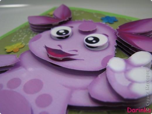 ЗДРАВСТВУЙТЕ!!! Сегодня я к вам с детской открыточкой.У дочурки моей подруги был День Рождения,а т.к. Лунтик является её любимым персонажем,то идея открытки сложилась в голове за минуту.   фото 7