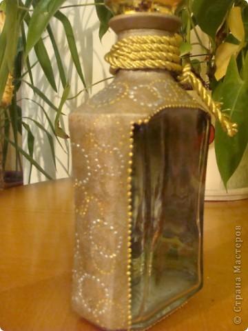 """Всем жителям СМ привет!!! Хочу рассказать, почему эта бутылка у меня называется """"Сборной солянкой"""". Когда она мне попалав руки, я сразу загорелась желанием ее задекорировать, но общей идеи у меня не было, зато надвигалось ДР мужа... фото 5"""