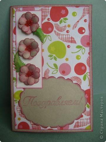 Комплект для поздравления с Днём рождения маленькой девочке. Другой детской бумажки никакой не оказалось, поэтому взяла такую с яблочками и вишенками. фото 3