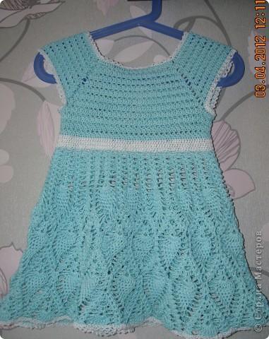 Платье для моей доченьки Софьи, вязала нитками Нарцисс(очень их люблю) ушло 2 мотка, крючок 2,5 фото 1