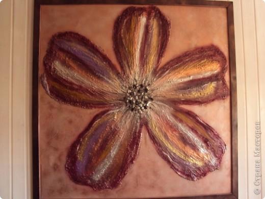 Размер 120 Х 120 см. Фанера толщиной 10мм; рамка - раскладка так называемая, планки, проще говоря; цветок - шпаклевка; сердцевина цветка - камешки; краски аэрозольные. фото 1