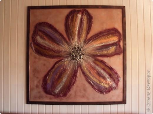 Размер 120 Х 120 см. Фанера толщиной 10мм; рамка - раскладка так называемая, планки, проще говоря; цветок - шпаклевка; сердцевина цветка - камешки; краски аэрозольные. фото 6