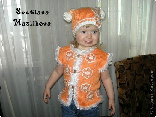 Гардероб Вязание Вязание крючком Комплекты с цветочками для девчушек Пряжа фото 10