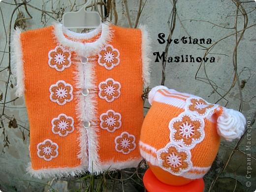 Гардероб Вязание Вязание крючком Комплекты с цветочками для девчушек Пряжа фото 5