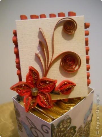 вот моя первая коробочка, в нее мы с дочкой положили маленькие шоколадки, теперь понесем в садик угощать воспитательницу. фото 1