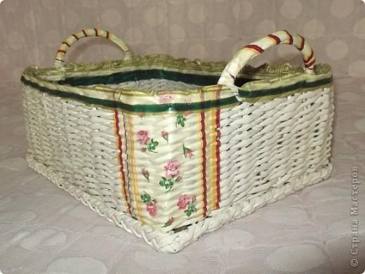 Сплела вот такую корзину для мамочки! Она ее использует для клубочков, из которых вяжет. фото 3