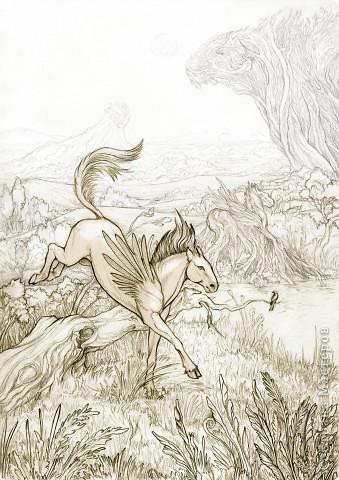 """""""Сотворение"""" 2005 г.  В большем разрешении: http://hontor.ru/photo/1-0-1  Огненный вархал создает мир из своей крови. Иллюстрация к авторской вселенной. фото 10"""