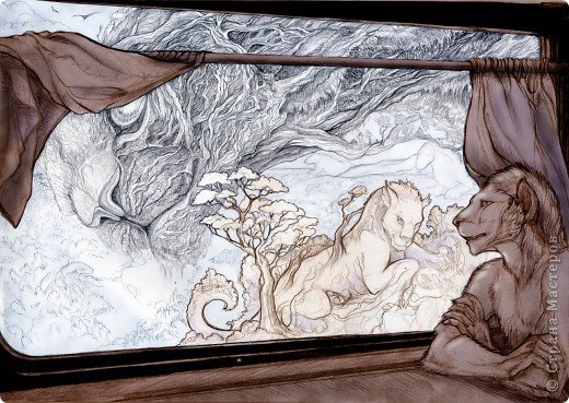 """""""Сотворение"""" 2005 г.  В большем разрешении: http://hontor.ru/photo/1-0-1  Огненный вархал создает мир из своей крови. Иллюстрация к авторской вселенной. фото 8"""