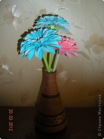 Вот такие герберы в этом году мы изготовили с учащимися к 8 марта для мам. фото 1