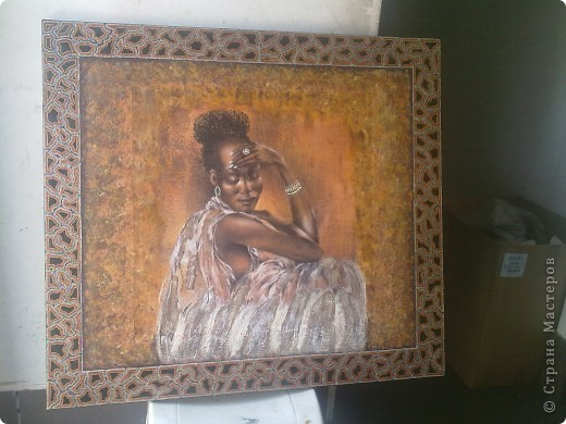 канва 100 на 90 см в (середине приклеен фрагмент с африканской задумчивой девушкой)   фото 4
