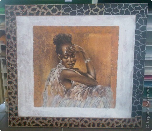 канва 100 на 90 см в (середине приклеен фрагмент с африканской задумчивой девушкой)   фото 1