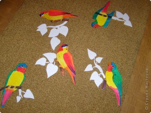 Провисели мои туканы и цветы ( они есть в моем блоге) почти год и ничего с ними не случилось, поэтому пришлось вот на заказ попугайчиков делать. Просили ярких птичек. Заказов было два так что птиц пришлось делать 13 штук. Вот часть из них. Приклеивать будут родственники сами, так что я просто сфоткала на память.  Роспись конечно не очень, ну да на таком материале  сложновато тонкости выводить. фото 1