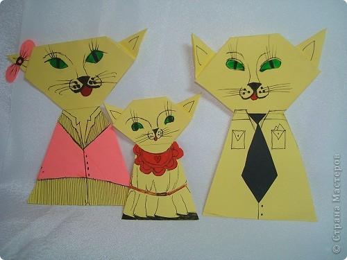 Здраствуйте жители Страны Мастеров я опять сделал новую поделку и назвал её семейство кошек. Тут кошка,  кот  и котёночек. фото 1