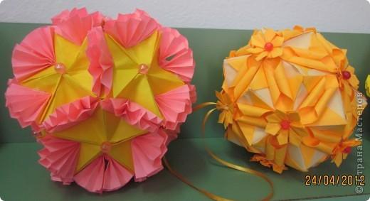 Кактус - кусудама супер шар. Очень понравился моим мальчишкам (воспитанникам детского дома) Раньше они любили заниматься модульным оригами, но вот , научившись собирать кусудаму, к модулям подостыли. фото 2